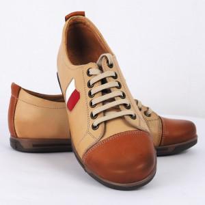 Pantofi sport din piele naturală bej Cod 1260
