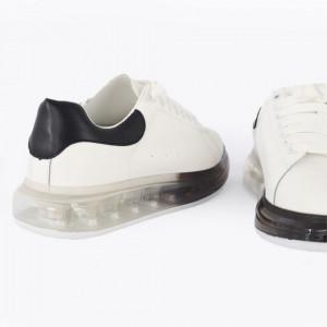 Pantofi sport pentru bărbați cod H13 White/Black - Pantofi pentru bărbați foarte comozi. - Deppo.ro