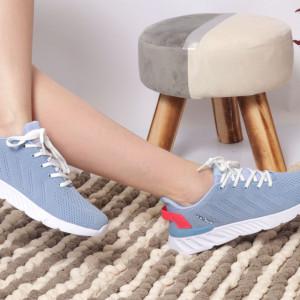 Pantofi Sport pentru dame Cod B09042 Blue - Pantofi sport pentru dame dinpanză,talpă din spumă  Foarte ușori și comozi  Închidere prin șiret. - Deppo.ro