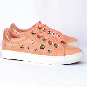 Pantofi Sport Raquel Cod 463 - Pantofi sport din piele ecologică întoarsă  Model cu steluțe  Șireturi tip panglică  Foarte comfortabili - Deppo.ro