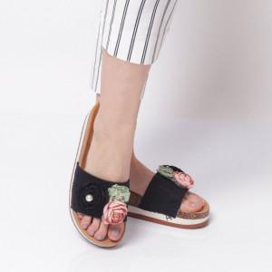Papuci Damă din piele ecologica cod AG-005 Black