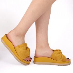 Papuci pentru dame din piele ecologică cod LTS0259 Yellow