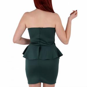 Rochie Ava Verde - Rochie elegantă, fără mâneci, cu volănașe peste talie, pune-ți silueta în evidență și atrage toate privirile. Potrivită pentru ocazii speciale. - Deppo.ro