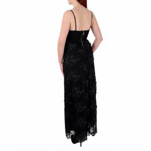Rochie Elaina Neagă - Rochie lungă neagră, elegantă potrivită pentru orice ocazie cu modele florale deosebite,simte-te atrăgătoare purtând această rochie și strălucește la urmatoarea petrecere. - Deppo.ro