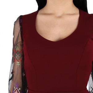 Rochie Irina Wine - Rochie cu mânecă lungă fabricată în România în stil rusesc pentru o ținută lejeră. Datorită croiului îți asigură libertatea de mișcare. - Deppo.ro
