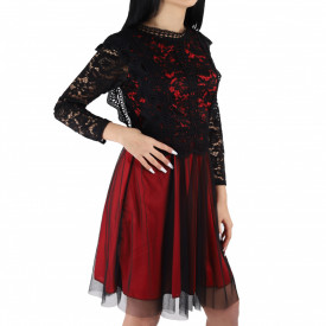 Rochie Lana Red - Rochie elegantă cu material dantelat, pune-ți silueta în evidență și atrage toate privirile - Deppo.ro
