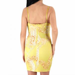 Rochie Teresa Yellow - Rochie de zi casual cu decor floral, pentru o ținută lejeră datorita croiului îți asigura libertatea de mișcare. - Deppo.ro