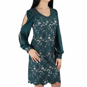 Rochie Vanessa Green - Rochie elegantă cu un decolteu modest cu maneci lungi - Deppo.ro