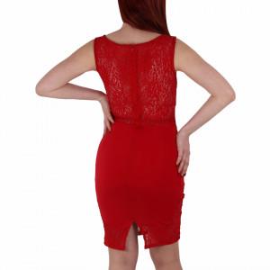 Rochie Ximena Red - Rochie roşie elegantă, din dantelă în partea bustului și în partea de jos, ușor de accesorizat potrivită pentru orice ocazie - Deppo.ro