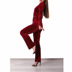 Salopeta Elizabeth Burgundy - Salopetă din material tip catifea, ușor elastică cu decor floral dantelat - Deppo.ro