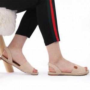 Sandale pentru dame cod F22 Beige - Sandale pentru dama din piele ecologică Calapod comod - Deppo.ro