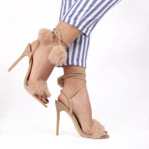 Sandale pentru dame cod JX-11 BEIGE - Sandale pentru dama  Închidere prin șnur Calapod comod - Deppo.ro