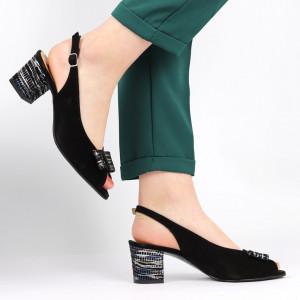 Sandale pentru dame din piele naturală cod 1203 VN-IMP