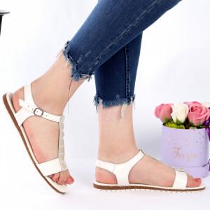 Sandale pentru dame din piele naturală cod 160301 White - Sandale pentru dama din piele naturală  Închidere prin scai  Calapod comod - Deppo.ro