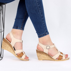 Sandale pentru dame din piele naturală cod 169307 Beige