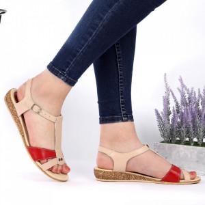 Sandale pentru dame din piele naturală cod 544T Bej