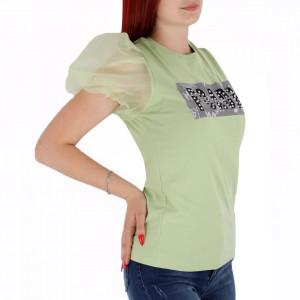 Tricou pentru dame cod F276 Green - Tricou pentru dame Mâneci bufante  Conferă lejeritate și o ținută casual - Deppo.ro