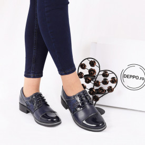Pantofi din piele naturală Bleumarin Cod 0221