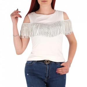 Bluză pentru dame cu mânecă scurtă cod P9090 White