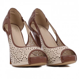 Pantofi cu toc cod L045 Bej