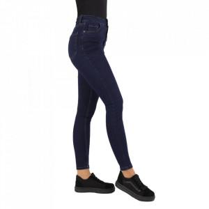Blugi MLK Denim - Blugi damă uşor elastici cu efect prespălat, cusături contrastante şi bucle pentru curea. Compoziţie 95% bumbac şi 5% elastan - Deppo.ro