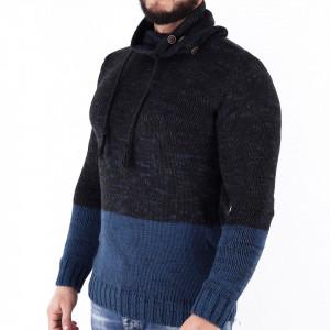 Bluză Alberto Blue - Bluza groasă perfectă pentru sezonul rece, o piesă cu reputaţie a stilului casual având compoziţia 70% material acrilic şi 30% lână - Deppo.ro