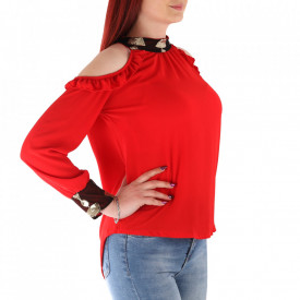 Bluză pentru dame cod P003 Roșu - Bluză pentru dame Model decorativ cu paiete - Deppo.ro