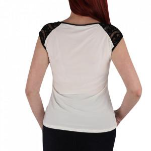 Bluză pentru dame cu mânecă scurtă cod BZ65 White - Bluză pentru dame  Model decorativ cu dantelă - Deppo.ro