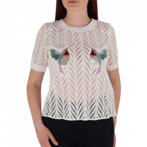 Bluză pentru dame cu mânecă scurtă cod CS18M White