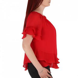 Bluză pentru dame tip cămășuță cod 19025 Red - Bluză tip cămășuță pentru dame  Model decorativ cu volănașe - Deppo.ro