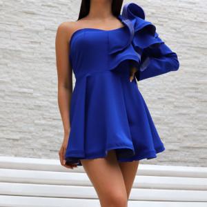 Bluză tip rochie pentru dame cod 0012 Blue - Bluzăpentru dame tip rochie Închidere prin fermoar Model decorativ cu volane - Deppo.ro