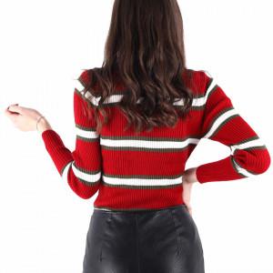 Bluză Tresa Red - Bluză pentru dame clasică cu mânecă lungă și decor în dungi dintr-un material confortabil perfectă pentru sezonul rece - Deppo.ro