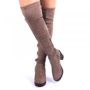 Cizme cod FH108 Khaki - Cizme din piele ecologică şi material textil tip catifea cu închidere cu fermoar şi şnur - Deppo.ro