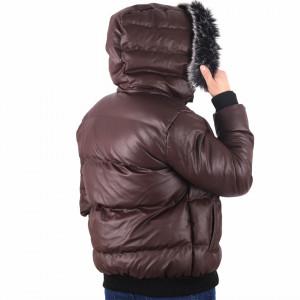 Geacă Francis Grena - Geacă cu glugă îmblănită din piele ecologică pentru iarnă/primavară, interior căptuşit buzunare laterale și închidere cu fermoar. - Deppo.ro