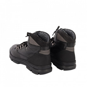 Ghete din piele naturală cod T4 Negre - Ghete din piele naturală cu inchidere prin fermoar, stil casual. - Deppo.ro