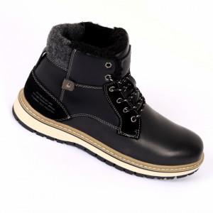Ghete pentru bărbați AM85311 Black - Ghete din piele ecologică, foarte confortabili cu un calapod comod - Deppo.ro