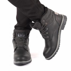 Ghete pentru bărbați cod ARM9208D1 Black - Ghete din piele ecologică, foarte confortabili cu un calapod comod și interior îmblănit - Deppo.ro