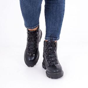 Ghete pentru dame cod JY0007 Negre - Ghete din piele ecologică și material textil impermeabil cu interior căptușit și cu închidere prin șiret - Deppo.ro