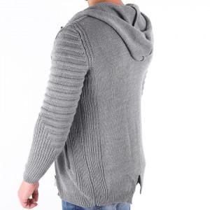 Jerseu Amir Gri - Este o haină de iarnă pentru bărbați foarte lejeră și călduroasă,se închide cu fermoar, de culoare gri cu mâneci lungi și dispune de o glugă - Deppo.ro