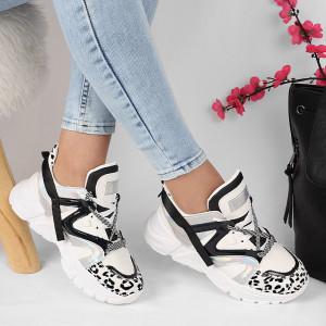 Pantofi cod HMM13 Albi - Pantofi sport pentru dame cu talpă înaltă din piele ecologică cu închidere prin șiret - Deppo.ro
