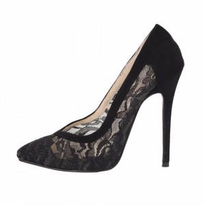 Pantofi Cu Toc Adonia Black - Pantofi din piele ecologică întoarsă în combinație cu material tip dantelă - Deppo.ro