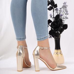 Pantofi cu toc cod 1598225 Auri - Pantofi cu toc din piele ecologică cu un design unic, fii în pas cu moda şi străluceşte la următoarea petrecere. - Deppo.ro