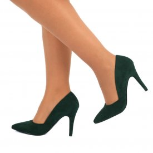 Pantofi cu toc cod 5505 Verzi - Pantofi din piele ecologică, foarte confortabili cu un calapod comod - Deppo.ro