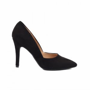 Pantofi cu toc cod A55055 Negri - Pantofi cu toc ascuțit din piele ecologică întoarsă cu un design unic, fii in pas cu moda si străluceste la urmatoarea petrecere. - Deppo.ro