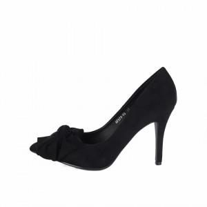 Pantofi cu toc cod AF67896 Negri - Pantofi cu toc ascuțit din piele ecologică întoarsă, culoare neagră cu o fundiță de decor - Deppo.ro