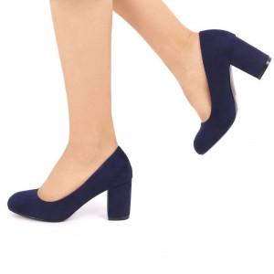 Pantofi cu toc cod EK0008 Bleumarin - Pantofi bleumarini din piele întoarsa ecologică de înalta calitate cu toc patrat 7 de cm şi vârf rotunjit - Deppo.ro