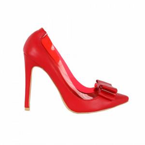 Pantofi cu toc cod FNA120112 Roși - Pantofi roşii cu vârf ascuțit din piele ecologică, foarte confortabili cu un calapod comod - Deppo.ro