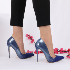 Pantofi cu toc cod LMD003 Albaștri