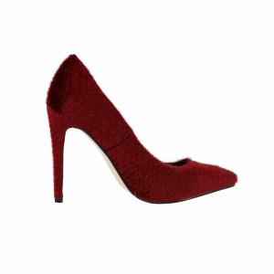 Pantofi cu toc cod MG12165A Roși - Pantofi din piele ecologică, cu vârf ascuţit şi toc subţire, foarte confortabili cu un calapod comod - Deppo.ro