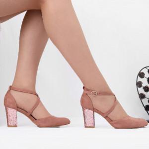 Pantofi cu toc cod NA46 Roz